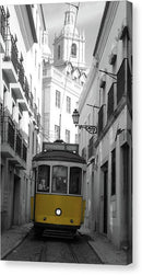 Yellow Cable Car On Small Village Street - Canvas Print from Wallasso - The Wall Art Superstore