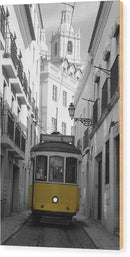 Yellow Cable Car On Small Village Street - Wood Print from Wallasso - The Wall Art Superstore