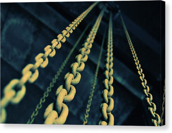 Yellow Industrial Chains - Canvas Print from Wallasso - The Wall Art Superstore