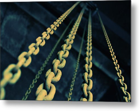 Yellow Industrial Chains - Metal Print from Wallasso - The Wall Art Superstore