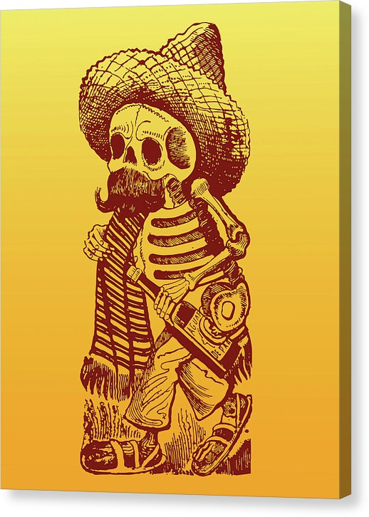 Yellow Posada Inspired Mexican Skeleton With Alcohol Bottle - Canvas Print from Wallasso - The Wall Art Superstore
