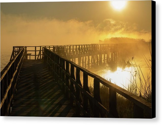 Yellow Sunrise Over Foggy Morning Lake and Boardwalk - Canvas Print from Wallasso - The Wall Art Superstore