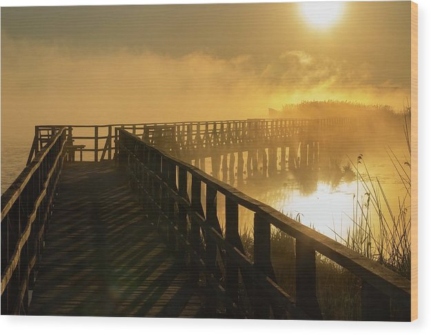 Yellow Sunrise Over Foggy Morning Lake and Boardwalk - Wood Print from Wallasso - The Wall Art Superstore