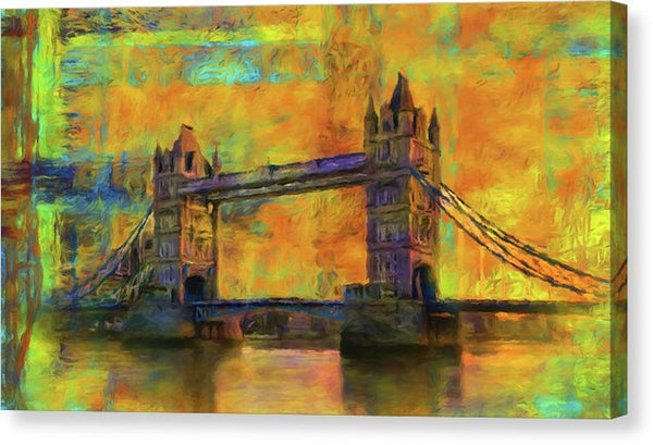 Yellow Tower Bridge Painting With Abstract Background - Canvas Print from Wallasso - The Wall Art Superstore