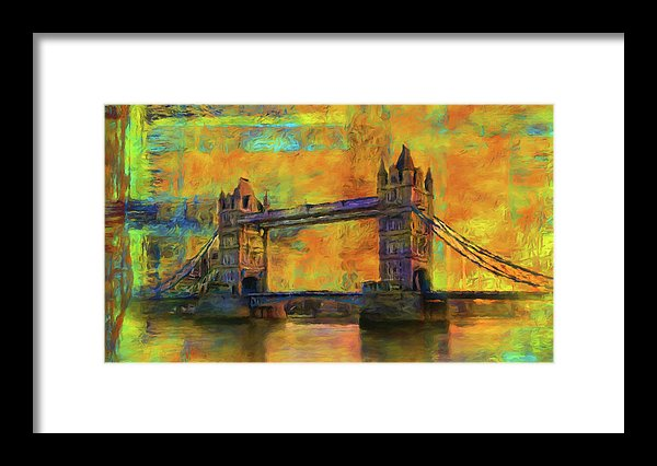 Yellow Tower Bridge Painting With Abstract Background - Framed Print from Wallasso - The Wall Art Superstore