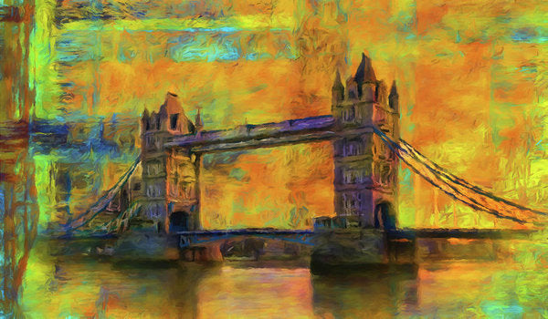 Yellow Tower Bridge Painting With Abstract Background - Art Print from Wallasso - The Wall Art Superstore
