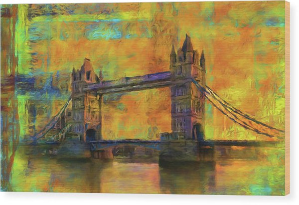 Yellow Tower Bridge Painting With Abstract Background - Wood Print from Wallasso - The Wall Art Superstore