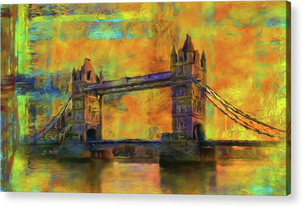 Yellow Tower Bridge Painting With Abstract Background - Acrylic Print from Wallasso - The Wall Art Superstore