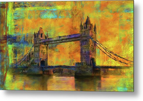 Yellow Tower Bridge Painting With Abstract Background - Metal Print from Wallasso - The Wall Art Superstore
