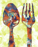 Yellow Watercolor Painting of Spoon and Fork Utensils - Art Print from Wallasso - The Wall Art Superstore