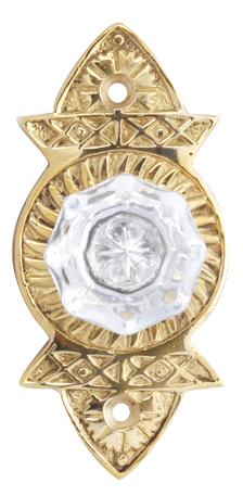 Crystal Cabinet Knob With a Polished Brass Plate