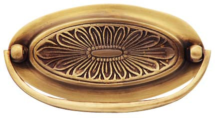 Hepplewhite - Oval Drop Pull in Antique Brass