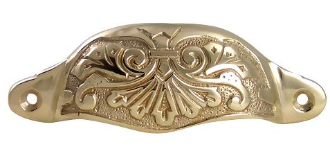 Louis XV Cup Pull in Polished Brass