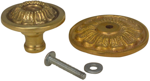 1 1/2 Inch Ornate Floral Brass Knob (Polished Brass Finish)