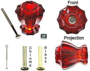 Astoria Large 1 1/2 Inch Ruby Red Decagon Teardrop Glass Knob