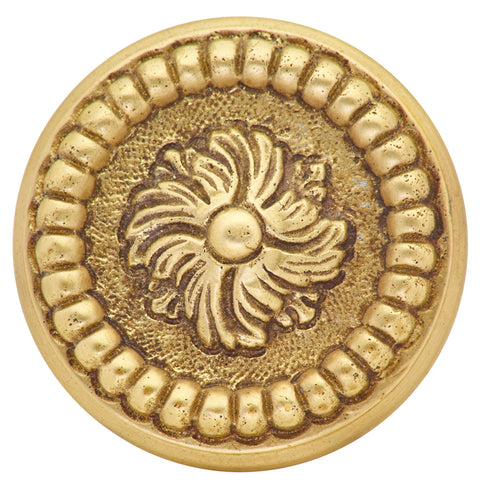 1 1/2 Inch Solid Brass Beaded Cabinet Knob (Antique Brass Finish)