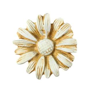 1 1/2 Inch Solid Pewter Daisy Knob (Weathered White Finish)