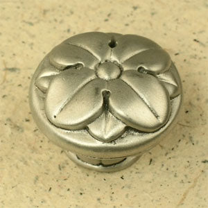 1 1/4 Inch Large Pompeii Leaf Knob (Pewter With Terra Cotta Finish)