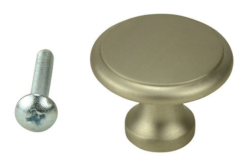 1 Inch Brass Flat Top Cabinet Knob (Brushed Nickel Finish)