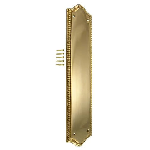 12 Inch Georgian Oval Roped Style Door Push & Plate (Polished Brass Finish)