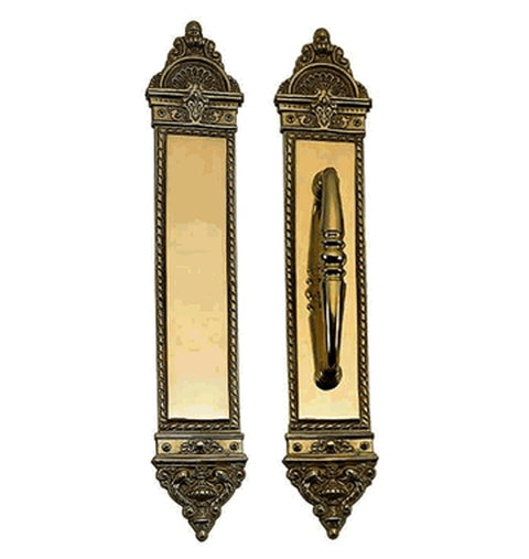 16 1/4 Inch European Style Door Pull & Push Plate Set (Antique Brass Finish)