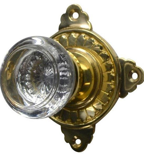 Savannah Round Crystal Door Knob with Art Deco Rosette