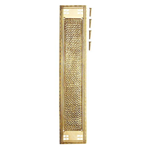 18 Inch Craftsman Style Push Plate (Polished Brass Finish)