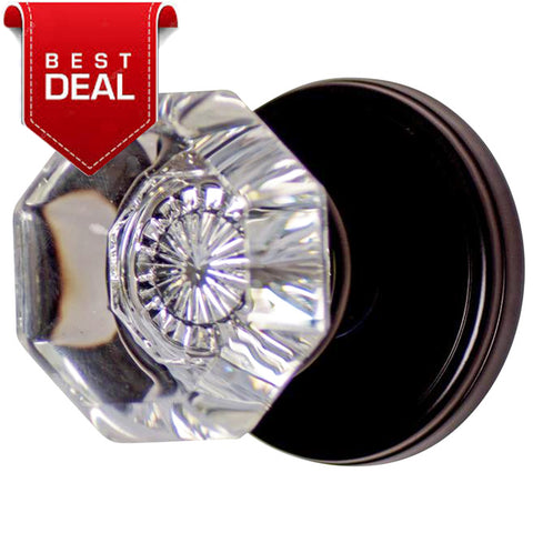 Octagon Crystal Door Knob with Classic Plate (Several Finishes Available)