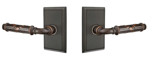 Emtek Solid Brass Ribbon & Reed Lever With Rectangular Rosette