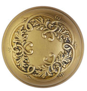 2 Inch Floral Leaf Spare Door Knob Set (Antique Brass)
