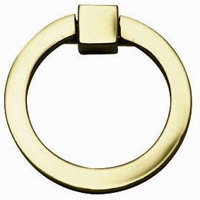 2 Inch Mission Style Solid Brass Drawer Ring Pull Hand Wrought (Polished Brass)