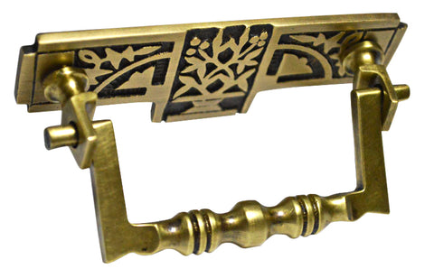 3 3/8 Inch (3 Inch c-c) Leaf Deco Bail Pull (Antique Brass Finish)