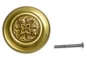 3 3/8 Inch Fleur French Window Knob (Antique Brass Finish)