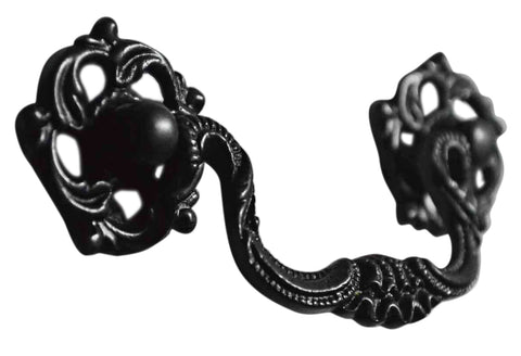 4 1/2 Inch Beaded Victorian Bail Pull with Leaf Mount (Oil Rubbed Bronze)