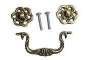 4 1/2 Inch Beaded Victorian Bail Pull with Roped Floral Mount (Antique Brass)