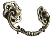 4 1/2 Inch Roped Victorian Bail Pull with Roped Floral Mount (Antique Brass)