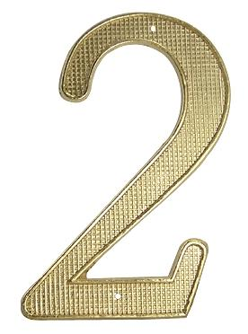 4 1/8 Inch Tall Zinc Alloy Number 2 (Polished Brass Finish)