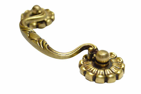 4 Inch Overall (3 Inch C-C) Solid Brass Floral Victorian Curve Handle (Antique Brass Finish)