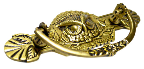 5 Inch (3 Inch c-c) Eastlake Owl Bin Pull (Antique Brass Finish)