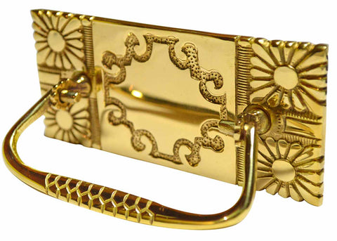 5 Inch Art Nouveau Bail Pull Plate (Polished Brass Finish)