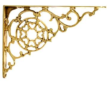 7 1/2 Inch Solid Brass Star Shape Shelf Bracket