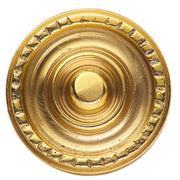 1 1/8 Inch Solid Brass Art Deco Circle Cabinet Knob (Polished Brass)