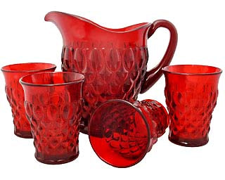 9 Inch Ruby Red Glass Pitcher & Four Tumblers - Elizabethan Pattern
