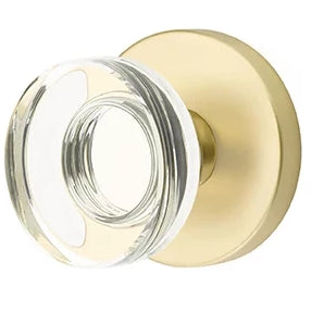 Modern Disc Crystal Door Knob Set With Disk Rosette (Several Finish Options)