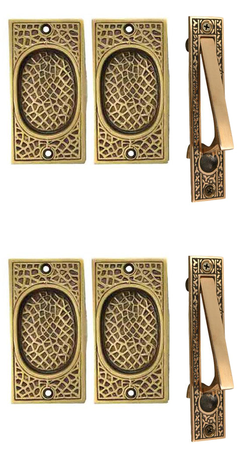 Craftsman Pattern Double Pocket Passage Style Door Set (Antique Brass)