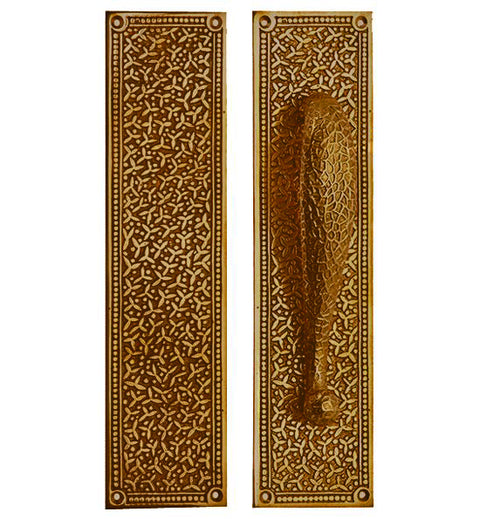12 Inch Solid Brass Rice Pattern Door Pull and Push Plate (Antique Brass Finish)