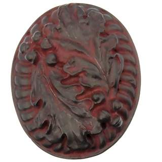 1 3/4 Inch Solid Pewter Country Cabin Style Oak Leaf Large Knob (Rust Finish)