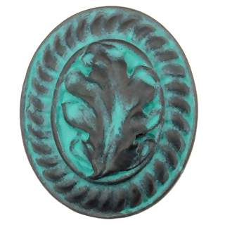 1 1/2 Inch Solid Pewter Country Cabin Style Oak Leaf Knob (Verdigris Finish)