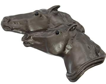3 1/2 Inch Large Solid Pewter Running Horses Knob (Bronze Finish)