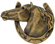 3 Inch Large Solid Pewter Lucky Horseshoe Horse Knob (Rubbed Bronze)
